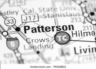 Patterson. California. USA on a map.