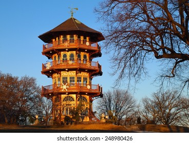 The Patterson Park Pagoda, on Hampstead Hill in Patterson Park, in Baltimore, MD, on a winter day.