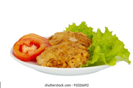 patties on a plate with lettuce leaves on a white background