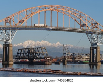 Pattullo Bridge in Vancouver. This important bridge was opened in 1937 and spans the Fraser River, connecting Surrey and New Westminster.