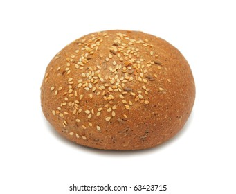 Patty-cake with sesame, isolated on a white background