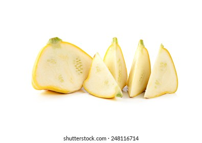 Pattypan squash. Yellow scallop squash. Isolated on white background. Natural vegetable.