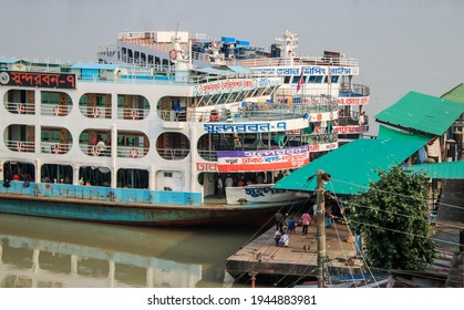 Patuakhali, Bangladesh - 6th October 2018 : Passenger ferries and the river port of Patuakhali