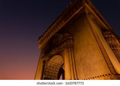 Patuxai Gate of Triumph in Night Light, Vientiane, Laos, Patuxai is a war monument in the center of Vientiane.