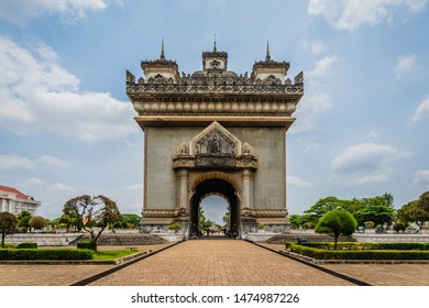 Patuxai Gate of Triumph, Vientiane, Laos  Patuxai literally meaning `Gate of Triumph` is the famous landmark in Vientiane known by the French as Monument Aux Morts is a war monument.