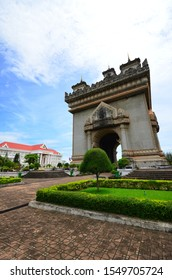 Patuxai monument, Vientiane - August 17,2013 : a stunning of Patuxai Monument  , triumphal Arches of Laos located in center of Vientiane, Laos.