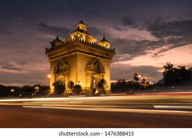 Patuxai victory monument architectural landmark of Vientiane laos.