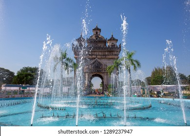Patuxay arch and fountain in Vientiane, Laos