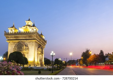 Patuxay or Patuxai Victory Monument, architectural landmark of Vientiane, capital city of Laos