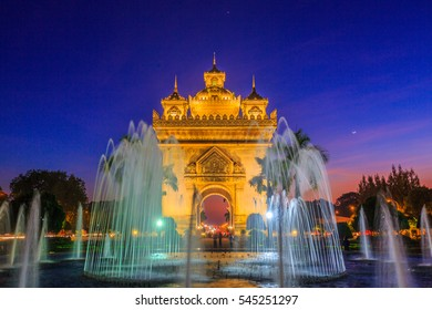 Patuxay or Patuxai is a war monument in the centre of Vientiane at twilight, Victory Gate or Gate of Triumph, Vientiane, Laos.