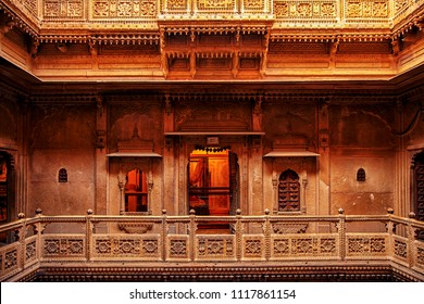 Patwon ki Haveli, Jaisalmer, Rajasthan, India, December 2016. Rajasthan royal heritage building made from yellow limestone with intricate art, A popular landmark at Jaisalmer Rajasthan, India.