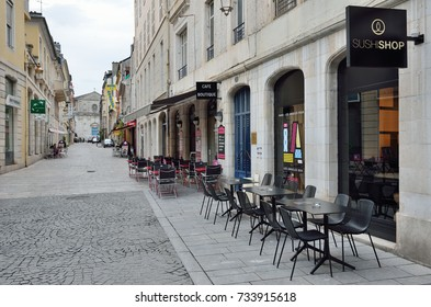 PAU, FRANCE - MAY 04 2015: Many shops, cafes and hotels are located in the central streets in the French city