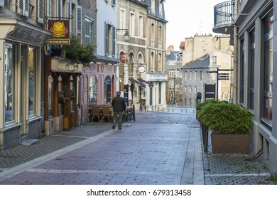 PAU, FRANCE - NOVEMBER 1, 2015: Detail of one of the streets of the historic city center, with cafes and restaurants.