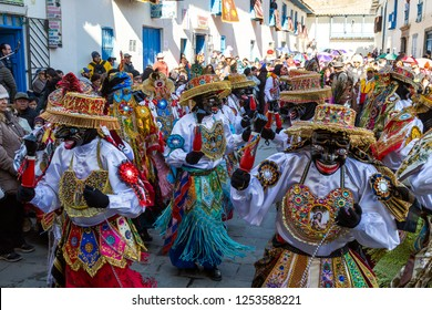 Paucartambo, Cusco/Peru-July 16th, 2018: Festival 'Virgen Del Carmen' in Paucartambo near Cusco, Peru.  Festival is one of the most awe inspiring and still authentic festivals in this region of Peru