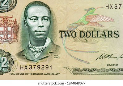 Paul Bogle (1820-1865) on 2 Dollars 1993 Banknote from Jamaica. Jamaican Baptist deacon and national hero. Close Up UNC Uncirculated - Collection.
