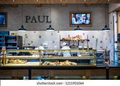 Paul at Central World, Bangkok, Thailand, Oct 19, 2018 : Closed up front Bakery showcase at cafeteria in European style.