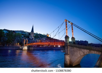 Paul Couturier bridge and St. George church, Lyon