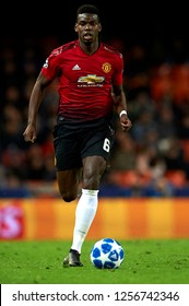Paul Pogba of Manchester United during the match between Valencia CF and Manchester United at Mestalla Stadium in Valencia, Spain on December 12, 2018.