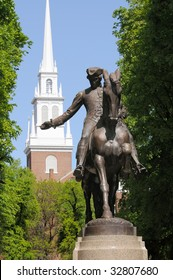 Paul Revere Statue and Old North Church, symbols of freedom