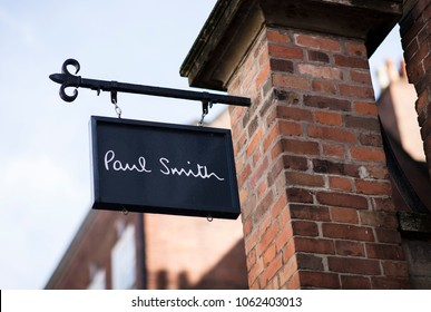 Paul Smith sign in the city centre, Nottingham, Nottinghamshire, UK - 3rd April 2018