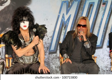 Paul Stanley, Vince Neil at the KISS & Motley Crue Press Conference, Roosevelt Hotel, Hollywood, CA 03-20-12