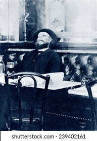 """Paul Verlaine (1844-1896), French poet, associated with Arthur Rimbaud, was artistically associated with the """"Decadents,"""" Stephane Mallarme and Charles Baudelaire. 1891."""