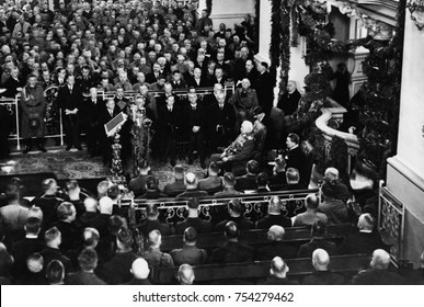 Paul von Hindenburg, Adolf Hitler, and Hermann Goering , March 21, 1933. They were in the Garrison Church in Potsdam for ceremonies opening the Reichstag session. Hitler was named Chancellor of German