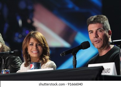 "Paula Abdul and Simon Cowell at ""The X Factor"" Press Conference, CBS Televison City,  Los Angeles, CA 12-19-11"