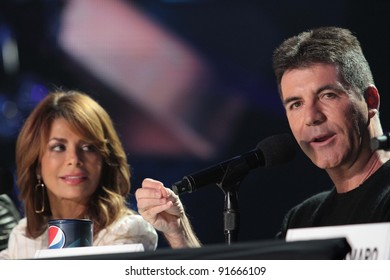 """Paula Abdul and Simon Cowell at """"The X Factor"""" Press Conference, CBS Televison City,  Los Angeles, CA 12-19-11"""
