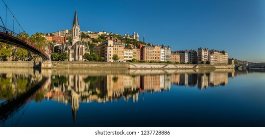 Paul-Couturier bridge and the Saint Georges church in Lyon, France