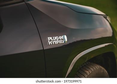 Paulesti, Romania - April 27 2021: 2021 Suzuki Across front fender badge