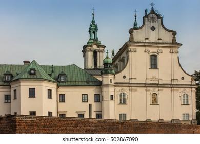 Pauline Church on the Rock in Krakow, Poland, Baroque style facade.