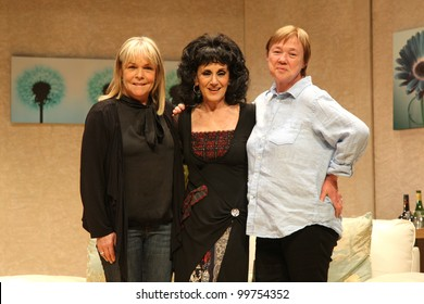 Pauline Quirke, Linda Robson and Lesley Joseph Birds of a Feather stage show at the New Victoria Theatre, Woking, Surrey. 26/03/2012 Picture by: Henry Harris / Featureflash