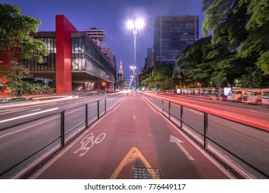 Paulista Avenue and MASP (Sao Paulo Museum of Art) at night - Sao Paulo, Brazil