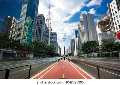 Paulista Avenue is one of the most important avenues in São Paulo, Brazil. It stretches 2.8 kilometres (1.7 mi) and runs northwest to southeast. Sao Paulo, Brazil, on March 19, 2018.