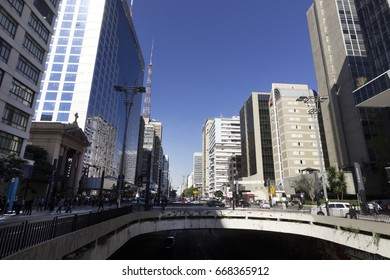 Paulista Avenue,  Sao Paulo, SP, Brazil, Jun, 23th 2017. A normal day in one the most famous Avenue in Sao Paulo, SP, Brazil