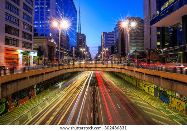 Paulista Avenue at twilight in Sao Paulo, Brazil