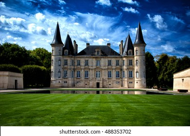 PAULLIAC, FRANCE - SEPTEMBER 9 2016: Wine producer Chateau Pichon-Longueville Baron is classified as one of Second Growths in the original Bordeaux Wine Official Classification of 1855.