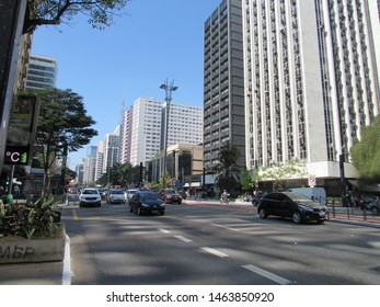 São Paulo, Brazil - 26th July 2019: Paulista Avenue. This is the most symbolic avenue of São Paulo. It concentrates numerous museums and is surrounded by skyscrappers all along its length.