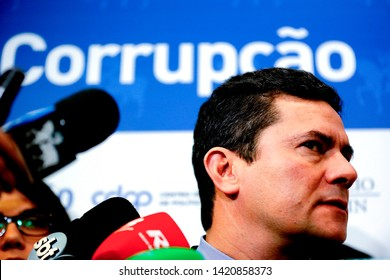 SÃO PAULO, BRAZIL - April 1, 2019: The brazilian minister of the Justice and Public Security SERGIO MORO during a conference about car wash operation in the city of the São Paulo.
