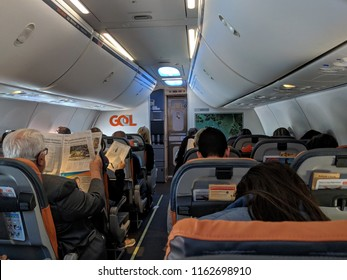 São Paulo, Brazil - August 12, 2018: Interior of economy class on Gol Airlines Boeing 737 at São Paulo–Guarulhos International Airport