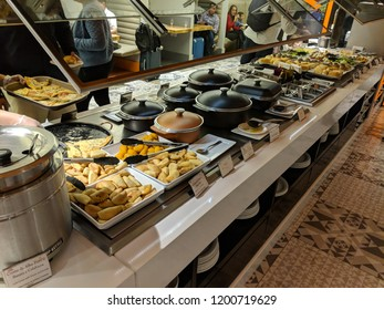São Paulo, Brazil: August 23, 2018 - Photo of the food at the GOL Lounge at GRU Airport.