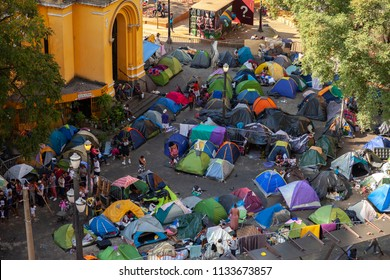SÃO PAULO / BRAZIL - CIRCA MAY 2018: After the squatter building burned down and collapsed many became homeless and started camping around the church on the same square in São Paulo