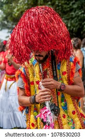 São Paulo Brazil. February 2017. Revelers participate in the Block of Maracatu in street carnival.