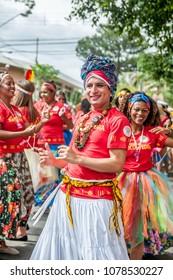 São Paulo Brazil. February 2017. Revelers participate in the Block of Maracatu in street carnival.