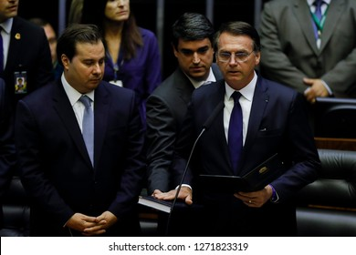 SÃO PAULO, BRAZIL - January 1, 2019: JAIR BOLSONARO takes office as President of Brazil during a ceremony at the National Congress in the Federal District in Brasilia.