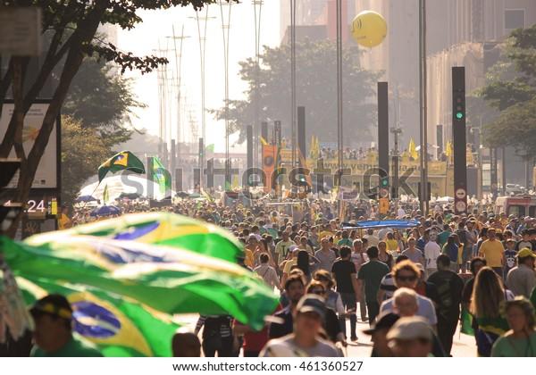 SÃ?O PAULO, BRAZIL - JUL 31, 2016: protesters march on Paulista Avenue against corruption in Brazil.