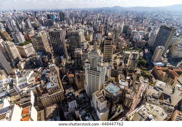 SÃO PAULO, BRAZIL - JULY 2016 - Sao Paulo City - Altino Arantes (Banespa) Building - Aerial view