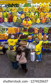 São Paulo, Brazil, July 21, 2012. People buying and sale fruits at Municipal Market (Mercado Municipal), Sao Paulo, Brazil.