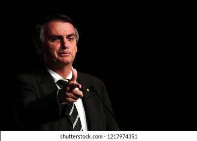 SÃO PAULO, BRAZIL - June 18, 2018: The current president-elect of Brazil JAIR BOLSONARO during participation in the Unica Forum 2018.